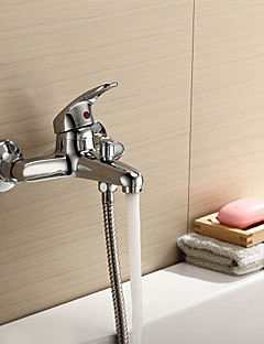 billige Foss-Moderne Badekar Og Dusj Foss Keramisk Ventil To Huller Enkelt håndtak To Huller Krom, Dusjkran Badekarskran