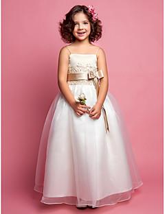 tanie Ubiór ślubny dla dzieci-Krój A Sięgająca podłoża Sukienka dla dziewczynki z kwiatami - Organza Satyna Bez rękawów Cienkie ramiączka z Koraliki przez LAN TING