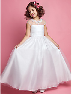 tanie Wytworna kolekcja-Krój A Księżniczka Sięgająca podłoża Sukienka dla dziewczynki z kwiatami - Tiul Bez rękawów Zaokrąglony z Koraliki Haft nakładany