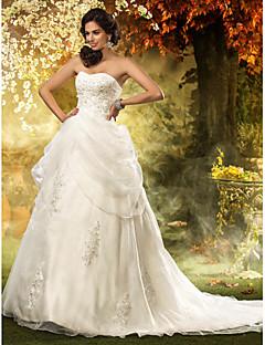 Aライン プリンセス ハートカット チャペルトレーン オーガンザ ビーズ アップリケ とともに ウェディングドレス 〜によって LAN TING BRIDE®