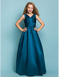 A-Line Princess V-neck Floor Length Satin Junior Bridesmaid Dress with Sash / Ribbon Criss Cross by LAN TING BRIDE®