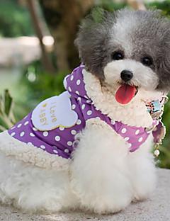 billiga Hundkläder-Hund Kappor Hundkläder Prickig Purpur Rosa Cotton Kostym För husdjur