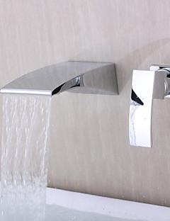 billige Foss-Moderne Vægmonteret Foss Keramisk Ventil To Huller Enkelt håndtak To Huller Krom , Badekarskran