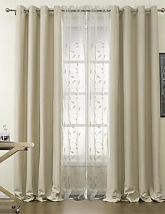baratos Cortinas Personalizadas-Barra no Interior Anéis Presilhas Duplo Plissado Dois Painéis Tratamento janela Modern Poliéster Material Cortinas Blackout Decoração