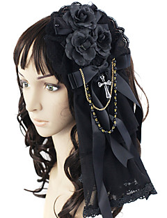 Lolita Jewelry Gothic Lolita Headwear Princess Black Lolita Accessories Headpiece Bowknot For Lace Satin Alloy Artificial Gemstones