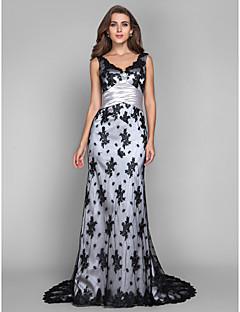 シース/コラムVネックスカラップ/ブラシトレインレースストレッチサテンイブニングドレス(tscouture®byクリスタル)