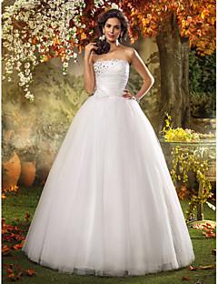 billiga Prinsessbrudklänningar-A-linje / Prinsessa Axelbandslös Golvlång Tyll Bröllopsklänningar tillverkade med Bård / Blomma / Sidodraperad av LAN TING BRIDE®
