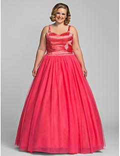 halpa -A-line-kultaseni lattiapituus tulle-prom-mekko, jossa on ts couture®