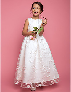 cheap Communion Dresses-A-Line Princess Floor Length Flower Girl Dress - Lace Sleeveless Jewel Neck with Sash / Ribbon by LAN TING BRIDE®
