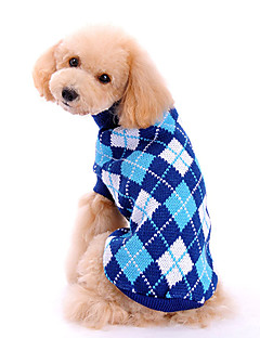 Dog Sweater Dog Clothes Classic Fashion Plaid/Check Blue
