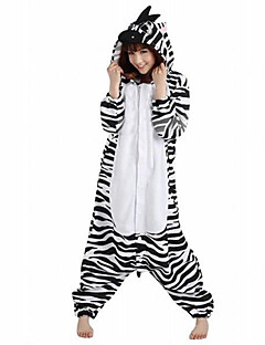 Kigurumi Pyjamas Zebra Heldragtskostumer Pyjamas Kostume Polarfleece Sort hvid Cosplay Til Voksne Nattøj Med Dyr Tegneserie Halloween