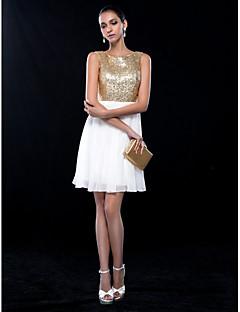billige Paljettkjoler-A-linje Besmykket Kort / mini Chiffon / Paljetter Glitrende Cocktailfest Kjole med Paljett av TS Couture®