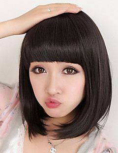 cheap Health & Beauty Clearance-Synthetic Wig Straight Bob Haircut With Bangs High Quality Nature Black Women's Capless Natural Wigs Black Wig Medium Synthetic Hair Daily