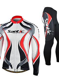 cheap Cycling Jersey & Shorts / Pants Sets-SANTIC Cycling Jersey with Tights Men's Long Sleeve Bike Jacket Tights Fleece Jackets Clothing SuitsThermal / Warm Windproof Anatomic
