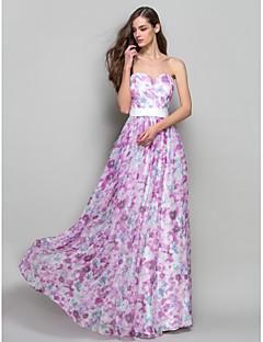 A-line hercegnő vállnélküli édes padlónhosszú sifon báli ruhája, amelyet a ts couture® díszít