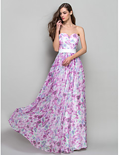 a-line princess strapless恋人の床の長さシフォンウエディングドレスtscouture®