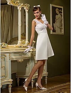 billiga Åtsmitande brudklänningar-Åtsmitande Queen Anne Knälång Spets / Satäng Bröllopsklänningar tillverkade med Bård / Spets / Korsvis av LAN TING BRIDE®