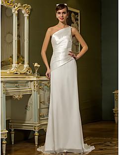 billiga Brudklänningar-Åtsmitande Enaxlad Svepsläp Chiffong / Stretchig satäng Bröllopsklänningar tillverkade med Bård / Sidodraperad av LAN TING BRIDE®