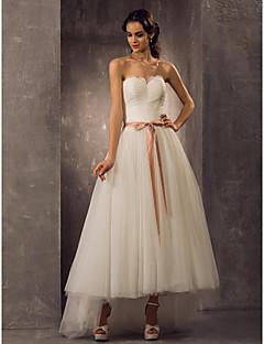 tanie Pierwszy taniec-Krój A / Księżniczka Dekolt serduszko Asymetryczna Tiul Suknie ślubne wykonane na miarę z przez LAN TING BRIDE®