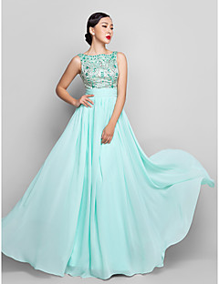 cheap -A-Line Scoop Neck Floor Length Chiffon Prom / Formal Evening / Military Ball Dress with Beading Bow(s) Ruched by TS Couture®