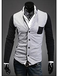 tanie Męskie swetry i swetry rozpinane-Męskie Wielokolorowa T-shirt Rozpinany Codzienny Długi rękaw