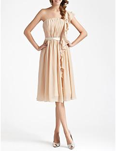 cheap Short Bridesmaid Dresses-Sheath / Column One Shoulder Knee Length Chiffon Bridesmaid Dress with Draping Sash / Ribbon Ruffles by LAN TING BRIDE®