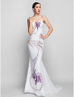 Mermaid / Trumpet Strapless Sweep / Brush Train Chiffon Lace Prom Dress with Pattern / Print Sequins by TS Couture®