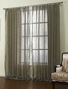 billige Gjennomsiktige gardiner-neoklassiske to panelene solide brun stue sengetøy ren gardiner nyanser