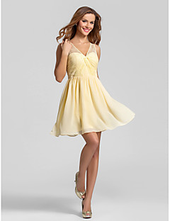 cheap Going Neutral-A-Line V Neck Short / Mini Chiffon Bridesmaid Dress with Lace Ruched Criss Cross by LAN TING BRIDE®