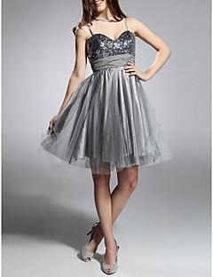 billige Paljettkjoler-A-line prinsesse spaghetti stropper kjære knelengde taffeta cocktail kjole med drapering av ts couture®