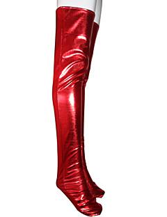 ソックス&ストッキング 忍者 全身タイツ コスプレ衣装 レッド ソリッド パンスト メタリック色 男女兼用 ハロウィーン