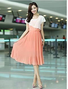 Χαμηλού Κόστους Γυναικεία Παντελόνια & Φούστες-Yameina σιφόν φούστα μεγάλο μέγεθος Thin Loose σάλι Fake-Δύο Φόρεμα (Pink)
