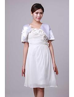 cheap Wedding Wraps-Short Sleeves Satin Wedding Wedding  Wraps With Bowknot Shrugs