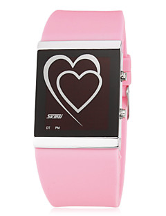 billige Modeure-Dame Digital LED Silikone Bånd Heart Shape Sort Hvid Blåt Pink Rose