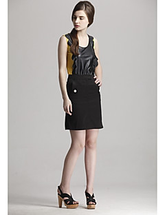 Zoely Women's Sexy Strap Spell Leather Pattern Sleeveless Vest 101123M015