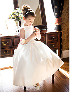A-Line Tea Length Flower Girl Dress - Satin Sleeveless Jewel Neck by LAN TING BRIDE®