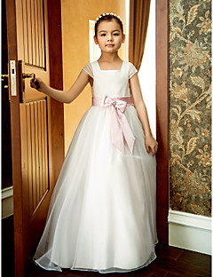 cheap Communion Dresses-A-Line Ankle Length Flower Girl Dress - Organza Short Sleeves Square Neck with Bow(s) Lace Sash / Ribbon Pleats Ruffles by LAN TING BRIDE®