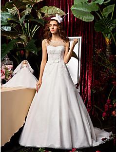 billiga A-linjeformade brudklänningar-A-linje / Prinsessa Prydd med juveler Svepsläp Chiffong / Spets Bröllopsklänningar tillverkade med Rosett / Bård / Bälte / band av / Genomskinliga