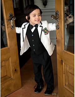 tanie Garnitury dla małych dróżbów-White Serge Garnitur dla małego drużby - 5 Zawiera Marynarka Kamizelka Koszula Spodnie Muszka
