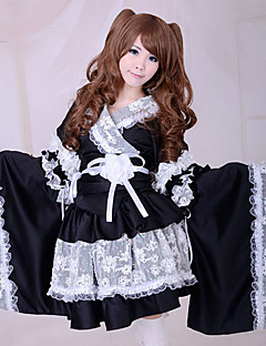 billiga Lolitaklänningar-Wa Lolita Traditionell Spets Satin Dam Kimono Cosplay Poet Långärmad Medium längd Halloweenkostymer