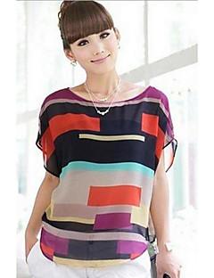 baratos -T-shirt das mulheres de manga curta Moda Chiffon Stripes