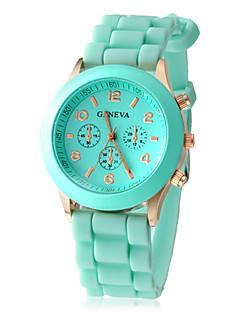 Mulheres Relógio de Moda Relógio Casual Quartzo Silicone Banda Doce Preta Branco Azul Vermelho Marrom Verde Rosa
