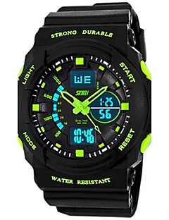 hesapli SKMEI®-SKMEI Erkek Quartz Japon Kuvartz Spor Saat Alarm Takvim Su Resisdansı LED Kronometre Çift Zaman Bölmeli Parlak Kauçuk Bant Havalı Siyah