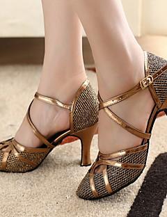 baratos -Mulheres Sapatos de Dança Moderna / Dança de Salão Glitter / Courino Salto Salto Personalizado Personalizável Sapatos de Dança Bronze / Dourado