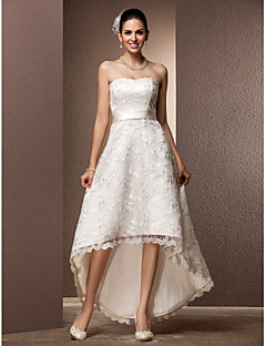 billiga A-linjeformade brudklänningar-A-linje Hjärtformad urringning Asymmetrisk Spets Bröllopsklänningar tillverkade med Bälte / band av LAN TING BRIDE® / Liten vit klänning