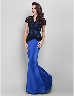cheap -Mermaid / Trumpet V Neck Floor Length Lace Satin Prom / Formal Evening / Military Ball Dress with Appliques Lace by TS Couture®