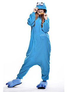 billige Kigurumi-Kigurumi-pysjamas Cookie Anime Monster Tegneserie Onesie-pysjamas Kostume Polar Fleece Blå Cosplay Til Pysjamas med dyremotiv Tegnefilm