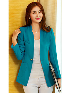 Ruilifang Simple Long Sleeve Fitted Long Blue Suit Jacket