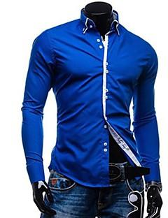 billige Herremote og klær-Bomull Tynn Kneppet krage Skjorte - Ensfarget Herre