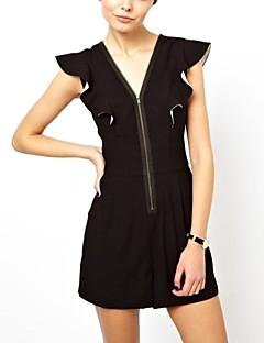 女性のロータスリーフ半袖ジャンプスーツ